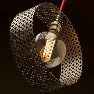 Circular club&round mesh steel vertical pendant