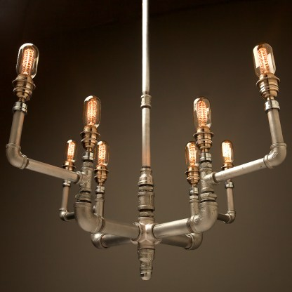 Plumbing Pipe 8 bulb formal chandelier E26 spiral vintage spiral tube