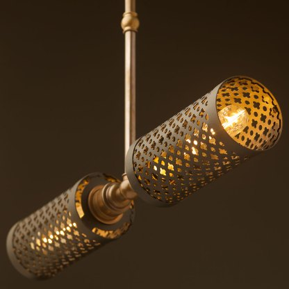 Brass twin horizontal mesh cage ceiling light