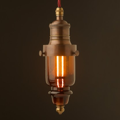 Cast brass pin insulator No430 Amber SES pendant