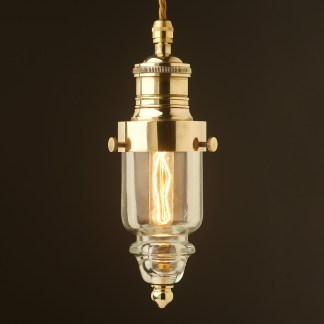 Cast polished brass pin insulator No430 Clear SES pendant