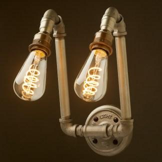 Vintage Plumbing pipe twin angled lamp wall light