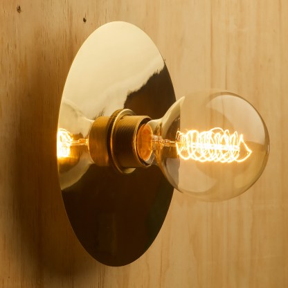 Brass disc wall light G80 vintage spiral side