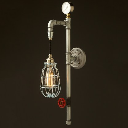 Galvanised plumbing pipe wall pendant enclosed cage