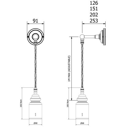 Straight arm insulator wall pendant light