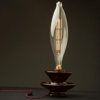 Vintage brown ceramic short insulator table lamp CT120 globe