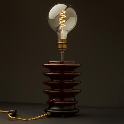 Vintage brown ceramic high tension insulator table lamp spiral LED G125