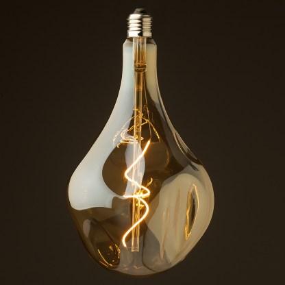 6 Watt dimmable filament LED amber glass A165 random globe