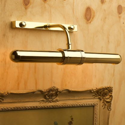 Twin tube thin brass cabinet display light angled