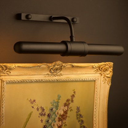 Twin tube thin brass cabinet display light black powder coat