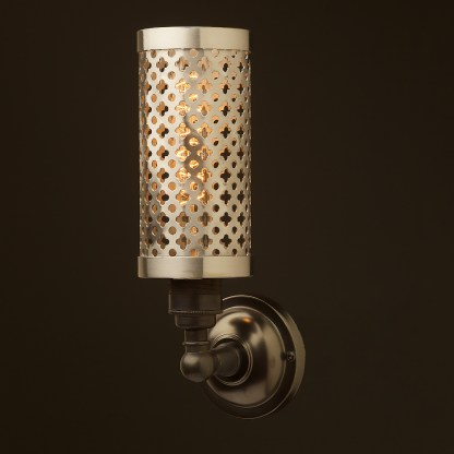 Bronze medium bulb club and round upright wall lamp polished steel