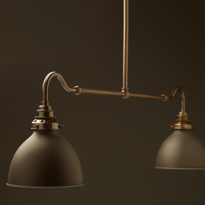Antique brass single drop small table light bronze dome