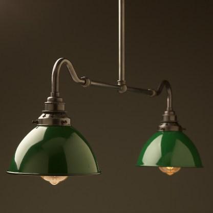 Bronze single drop small table light green dome