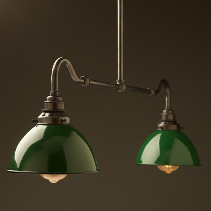Bronze single drop small table light green dome