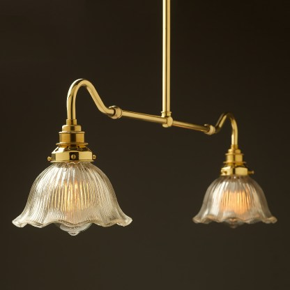 New brass single drop small table light fluted holophane