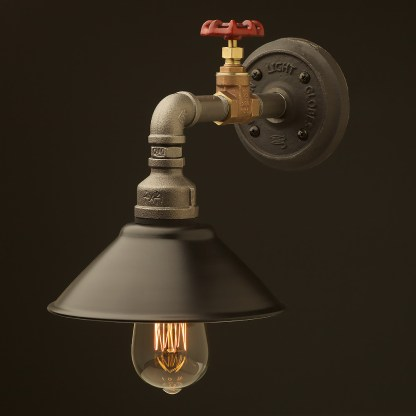 Small shade straight arm tap and wall light black shade 190mm