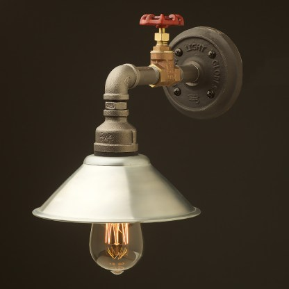 Small shade straight arm tap and wall light galvanised shade 190mm