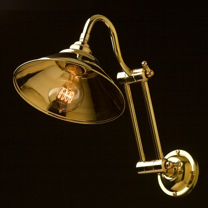 Two bend adjustable solid brass arm wall light brass 190mm