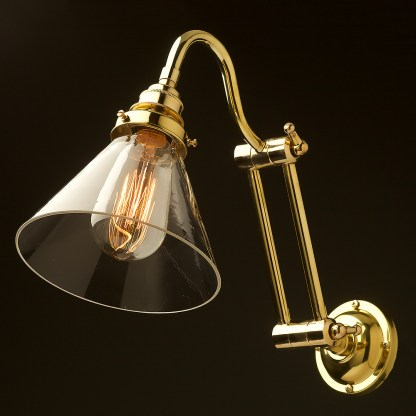 Two bend adjustable solid brass arm wall light clear glass cone