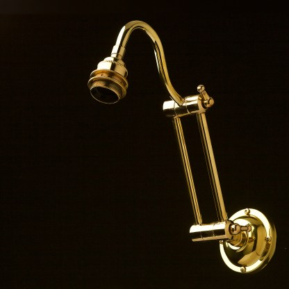 TwTwo bend adjustable solid brass arm wall light no shade or galleryo bend adjustable solid brass arm wall light long setting