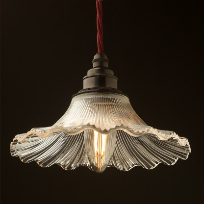 195mm clear petticoat shade pendant bronze