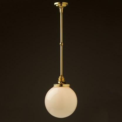 200mm opal glass spherical brass fixed rod light new brass