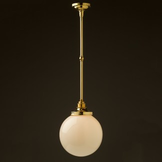 200mm opal glass spherical brass fixed rod light new brass