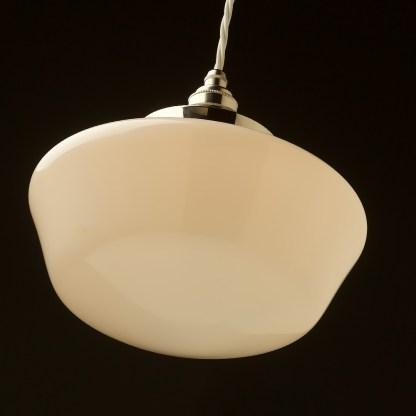 255mm Opal schoolhouse glass pendant from below