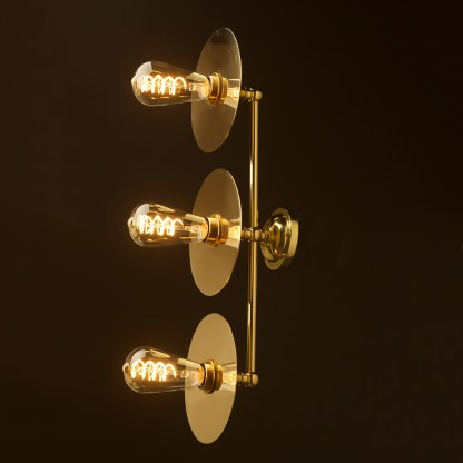 Three globe brass wall mount 180mm disc light Edison LED spiral side