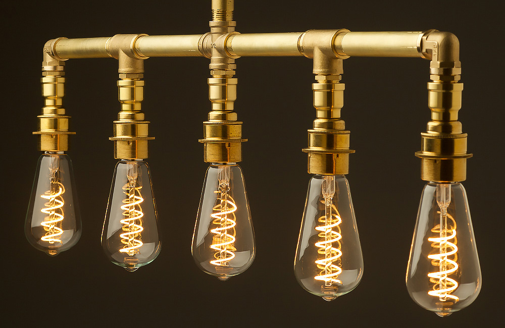 Vintage Brass Plumbing Pipe Chandelier 5 lamps