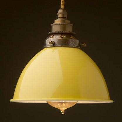 Pale Yellow Enamel Dome E27 Pendant antique brass