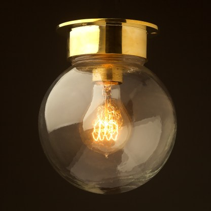 Spherical glass brass flushmount light