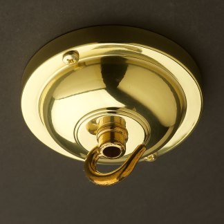 Polished Brass Hook ceiling rose 90mm