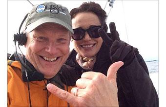 Happy Edisto Island tourist on the Miss Ellen