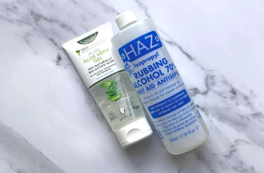 Aloe vera gel and hand sanitizer