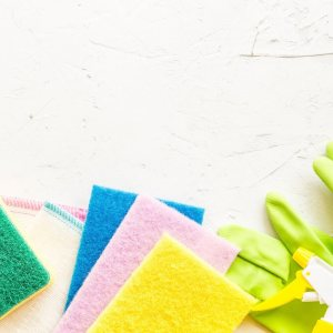 Cleaning cloths on a table close up