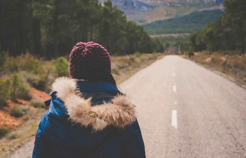 Keep going walking down road