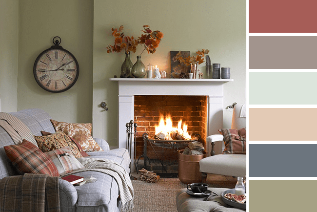 English cottage decorated for fall