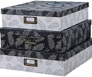 Decorative Storage Cardboard Boxes with Lids (Set of 3, Feathers)