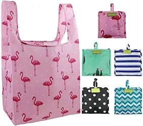 Foldable Reusable Shopping Bags Bulk Pack of 5