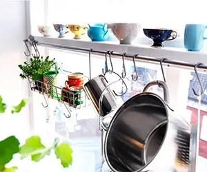 Ikea Steel Kitchen Organizer Set, 2 Rails and 20 Hooks