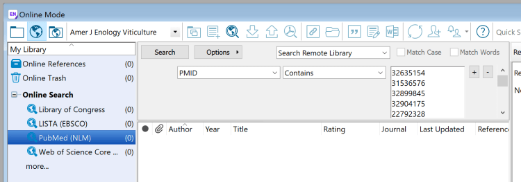 Screenshot of EndNote's online search function