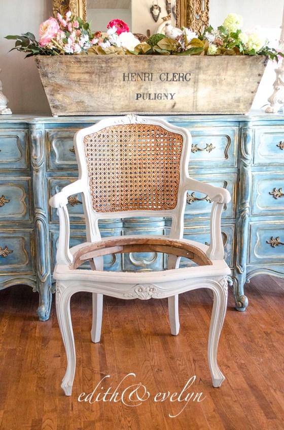 A French Cane Chair Redo | Edith & Evelyn | www.edithandevelynvintage.com