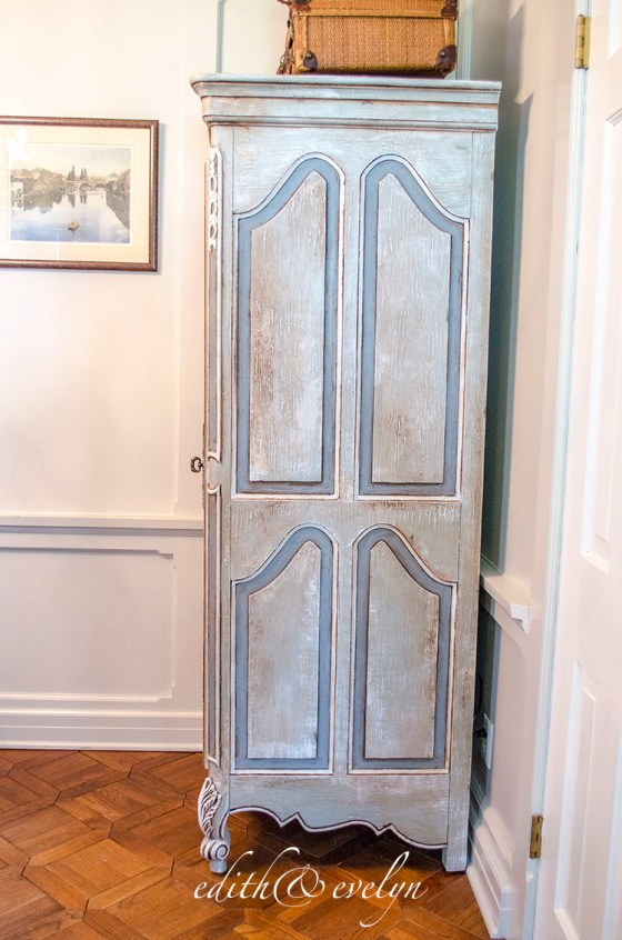 French Armoire in the Study | Edith & Evelyn Vintage | www.edithandevelynvintage.com