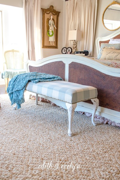 A French Provincial Bench and Buffalo Plaid | Edith & Evelyn | www.edithandevelynvintage.com