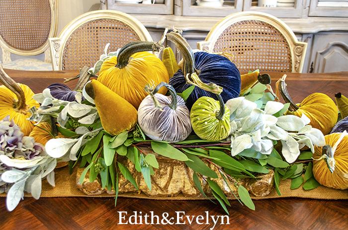 Velvet Pumpkins in the Dining Room | Edith & Evelyn | www.edithandevelynvintage.com