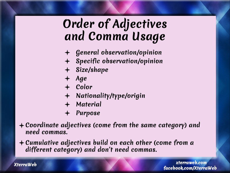 Order Of Adjectives And Comma Usage