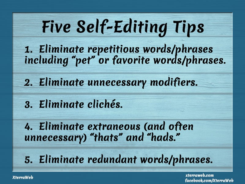 Five self-editing tips for writers and authors.