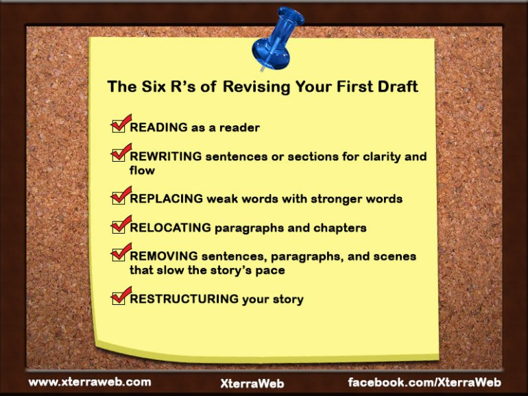 The Six R's of Revising Your First Draft. How to revise the first draft of your novel.