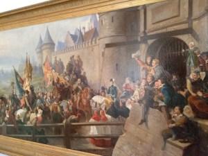 Reproduction par Esser du tableau de Félix Philippoteaux Charlotte de la Marck recevant les vainqueurs de Douzy